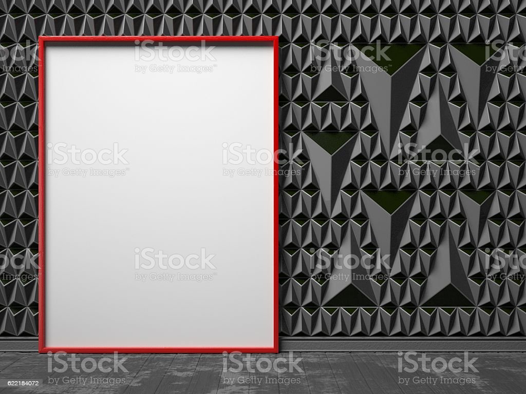 Blank, red, picture frame on black triangulated background stock photo