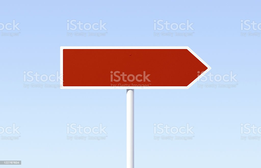 Blank Red Road Sign stock photo