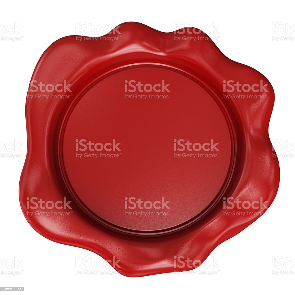 3D blank red rubber stamp or wax seal stock photo