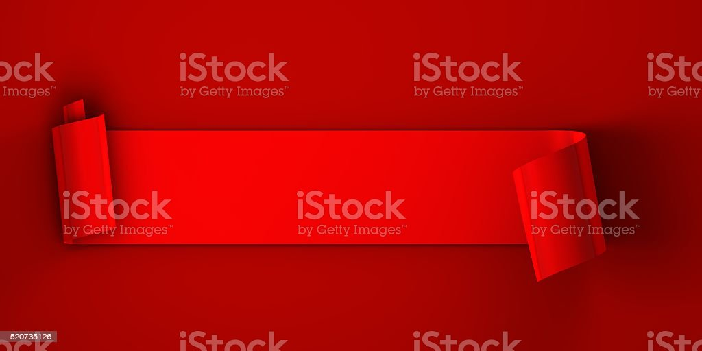 Blank red scroll label stock photo
