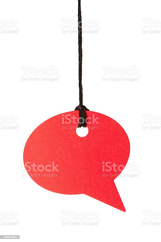 Blank red speech bubble hanging from thread royalty-free stock photo