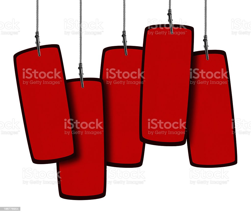 Blank Red Tag  in Wire Clamp 5 (Clipping Path) royalty-free stock photo