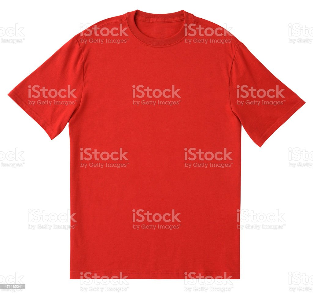 Blank Red T-Shirt Front with Clipping Path. stock photo