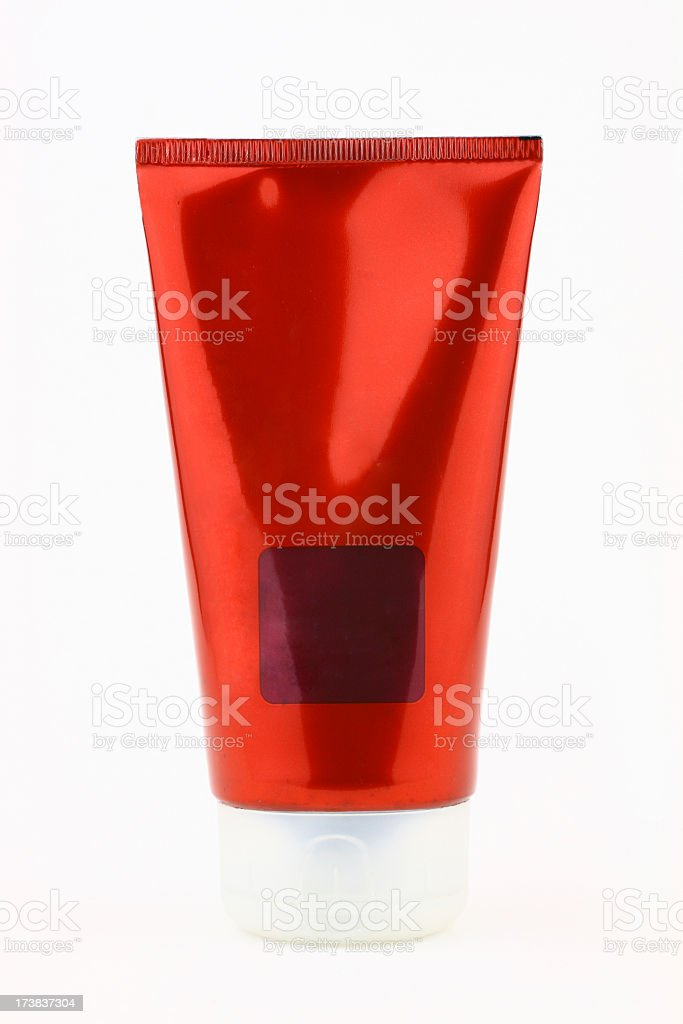 Blank red tube stock photo