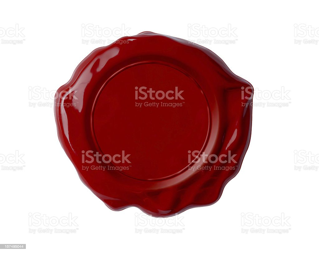 Blank red wax seal on a white background stock photo