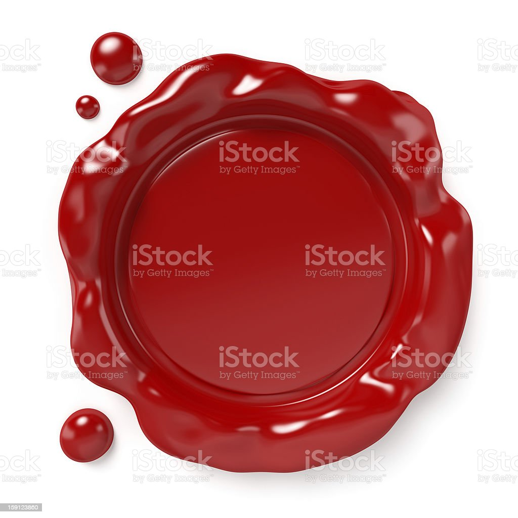 A blank red wax seal on a white background stock photo