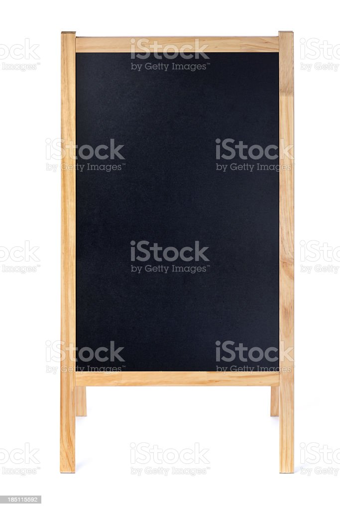 Blank Restaurant Menu Blackboard Sign Easel Frame with Copy Space stock photo