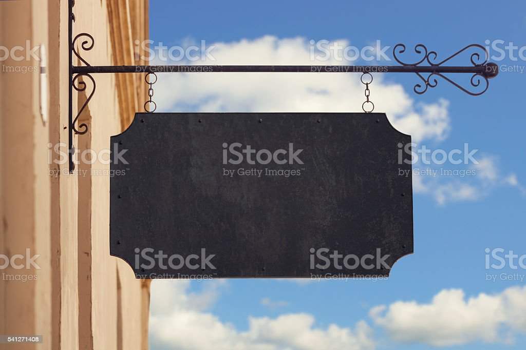 Blank restaurant or store sign stock photo