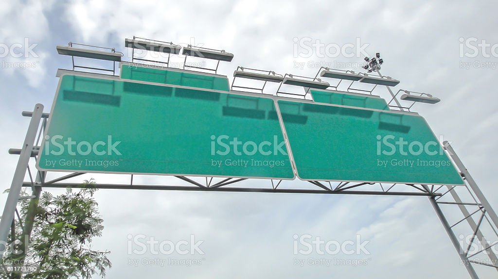 Blank road sign on thailand's tollway stock photo