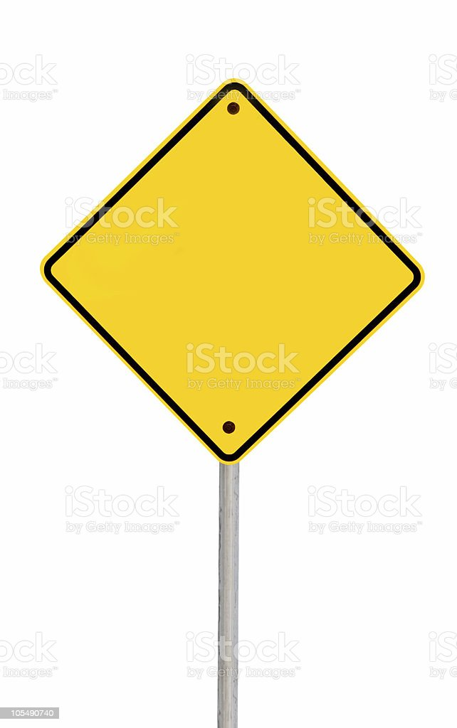 Blank Road Sign (with Path) stock photo