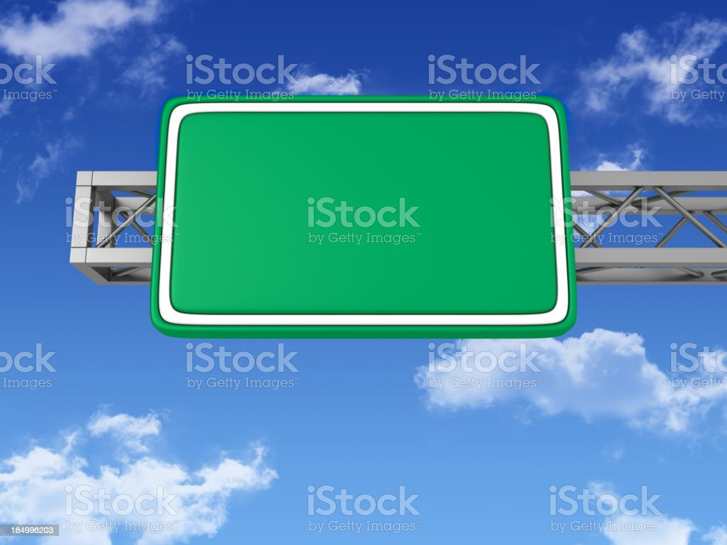 Blank Road Sign with Sky stock photo