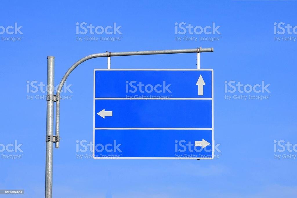 Blank road sign with three arrow. stock photo