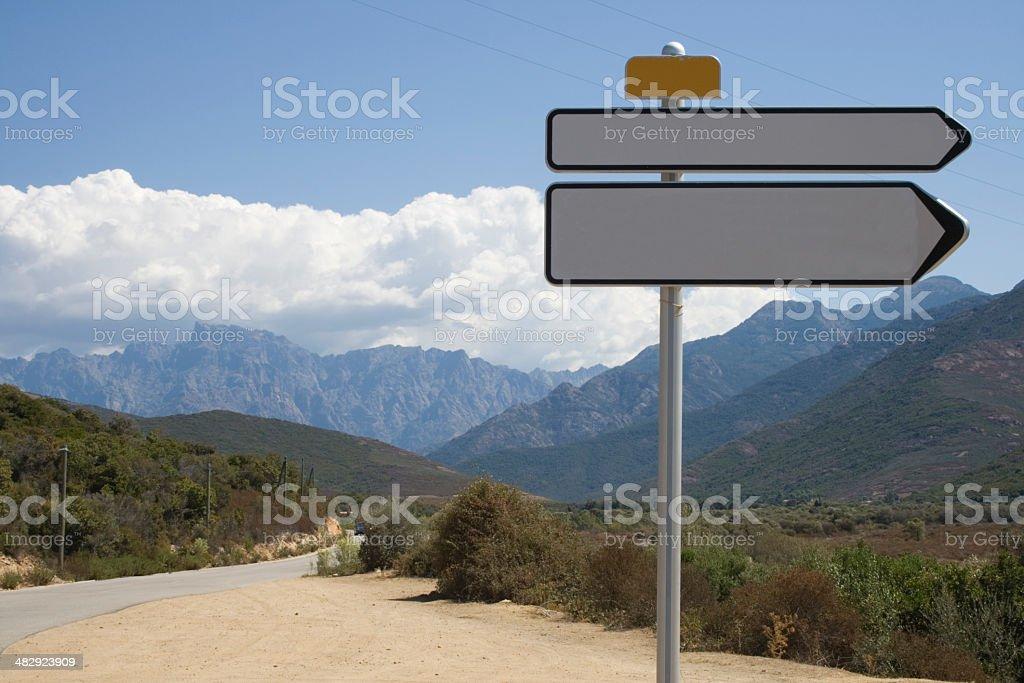 Blank road signpost stock photo