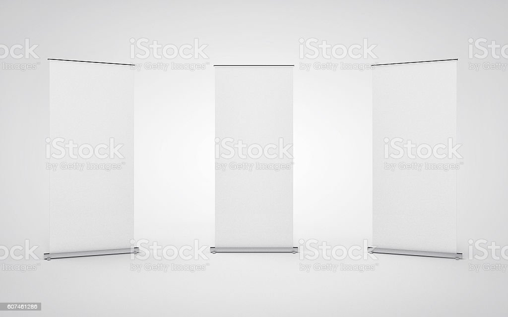 Blank roll up banner display on white background. stock photo
