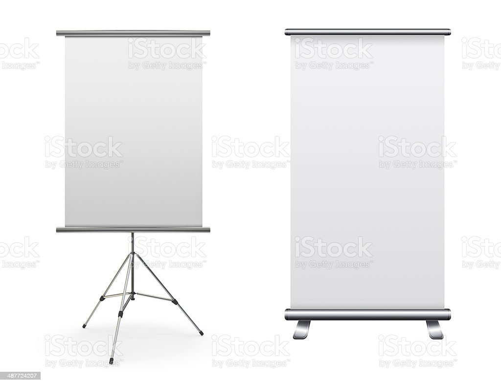 Blank roll up banner display royalty-free stock photo