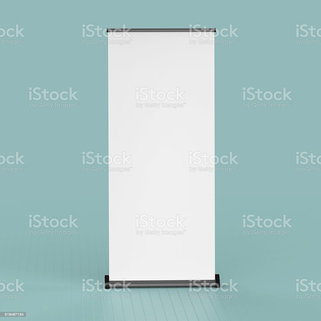 blank roll up banners  template. rendering isolated on color background stock photo