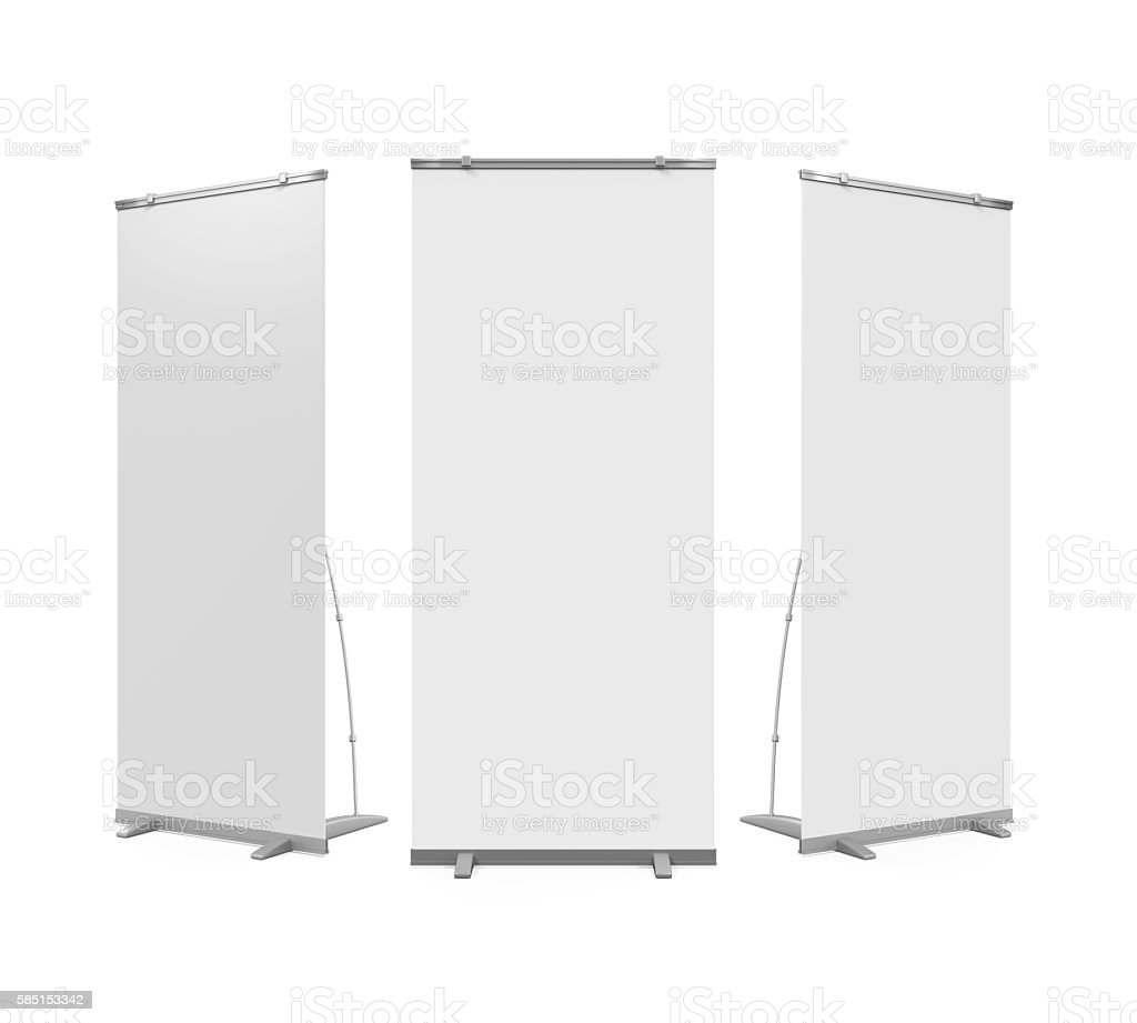 Blank Roll Up Display Banner stock photo