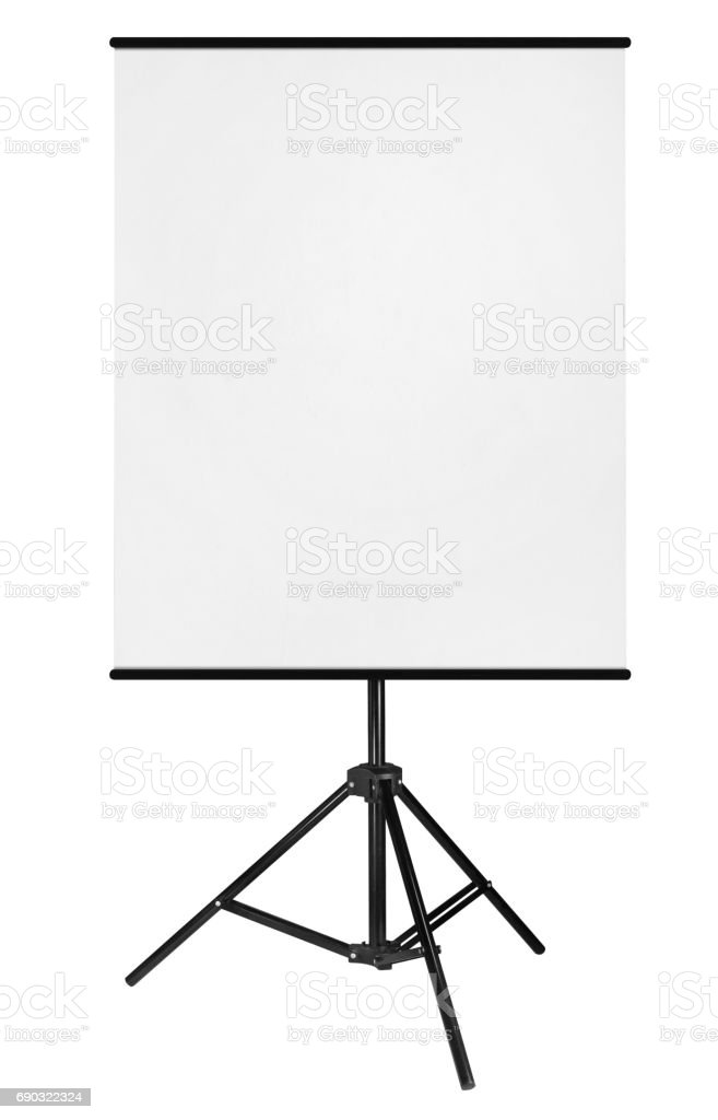 Blank Roll Up Expo Banner Stand on Tripod isolated on white background. stock photo