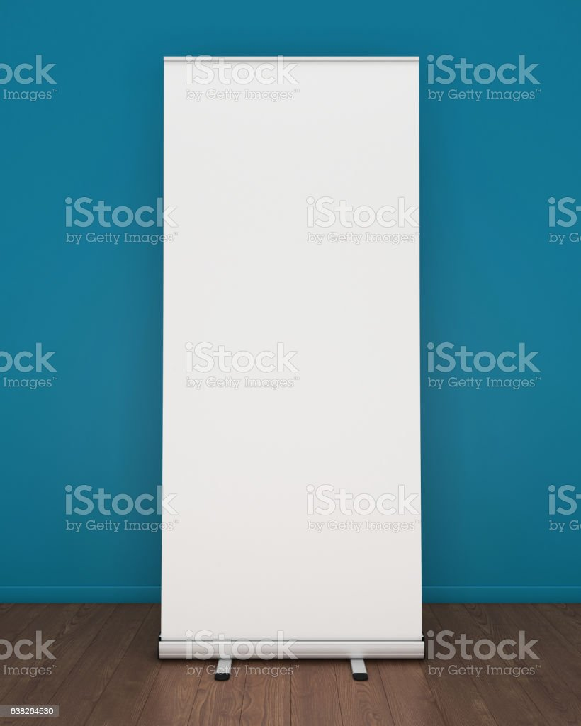 Blank roll-up banner template stock photo