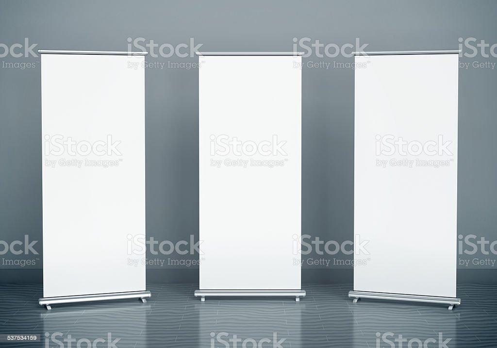 Blank roll-up banners stock photo