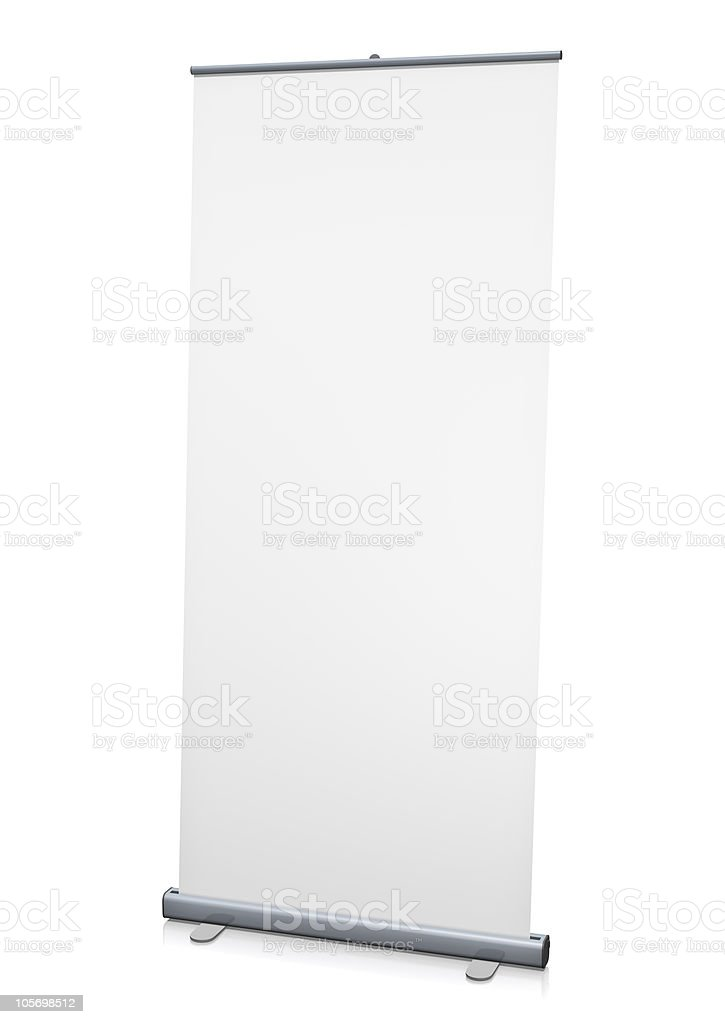 Blank roll-up or pull-up banner on a white background stock photo