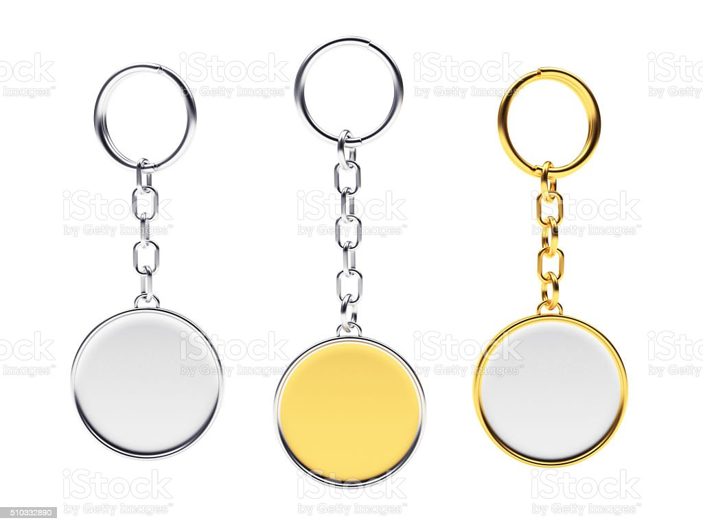 Blank round golden and silver key chains with key rings stock photo