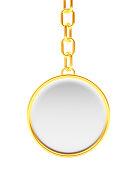 Blank round golden key chain on white