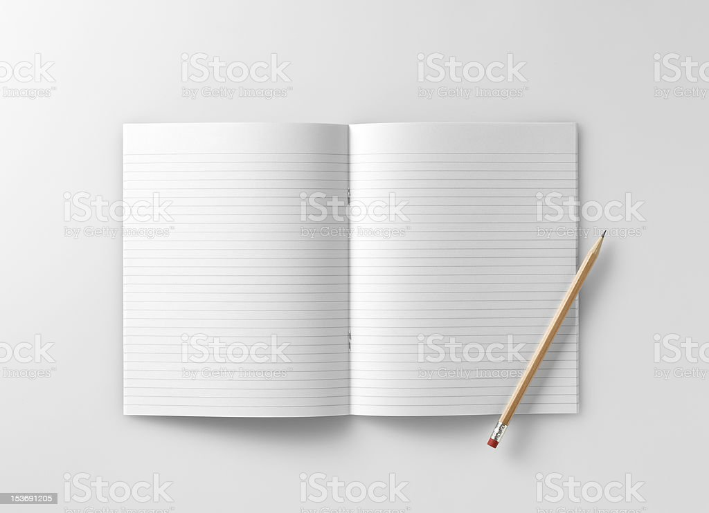 blank school exercise notebook  book  jotter with pencil royalty-free stock photo