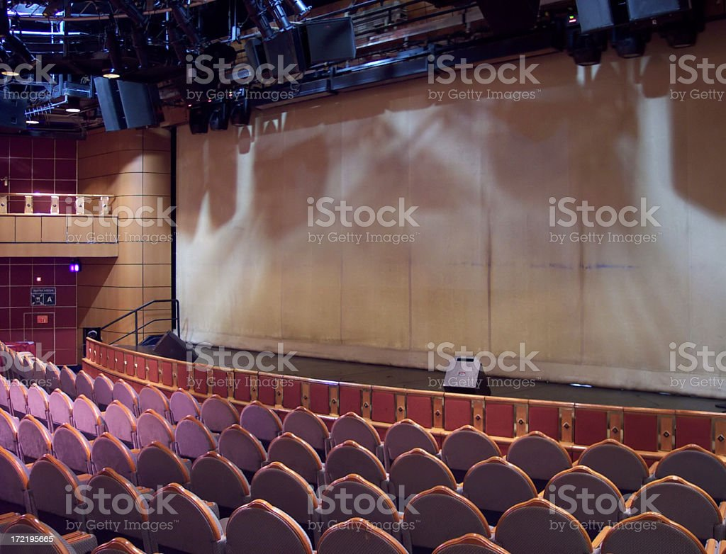 Blank Screen and Theater Seats stock photo