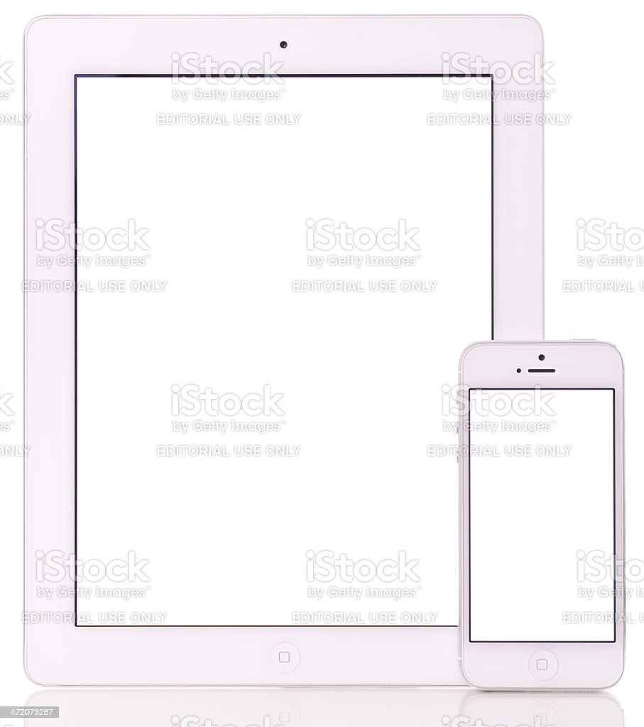 Blank screen Apple iPad 3 and iPhone 5 royalty-free stock photo