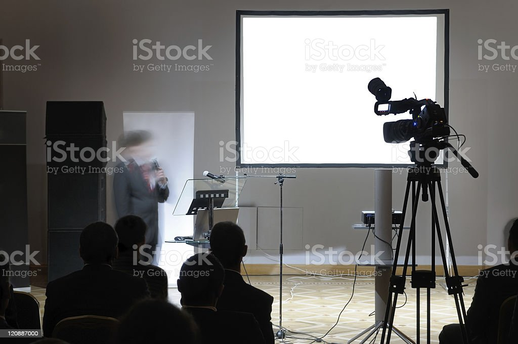 Blank screen at conference. stock photo