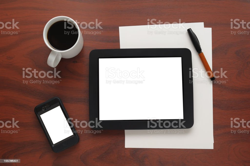Blank screen digital tablet and smart phone royalty-free stock photo