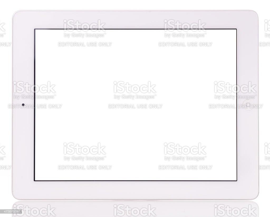 Blank screen iPad 3 on white background royalty-free stock photo