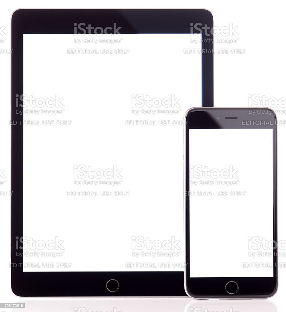 Blank screen iPad Air and iPhone 6 Plus stock photo
