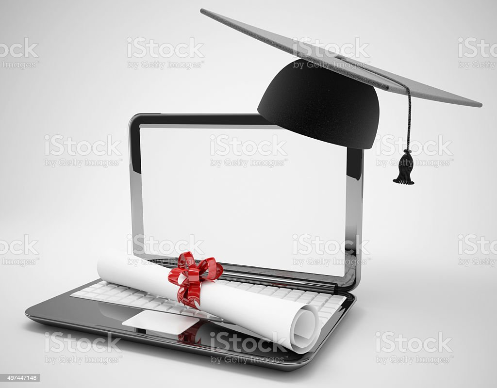 blank screen laptop and graduation elearning concept stock photo
