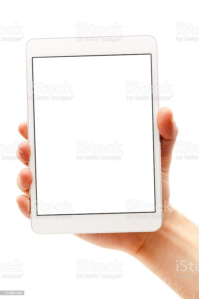 Blank screen of a white digital tablet stock photo