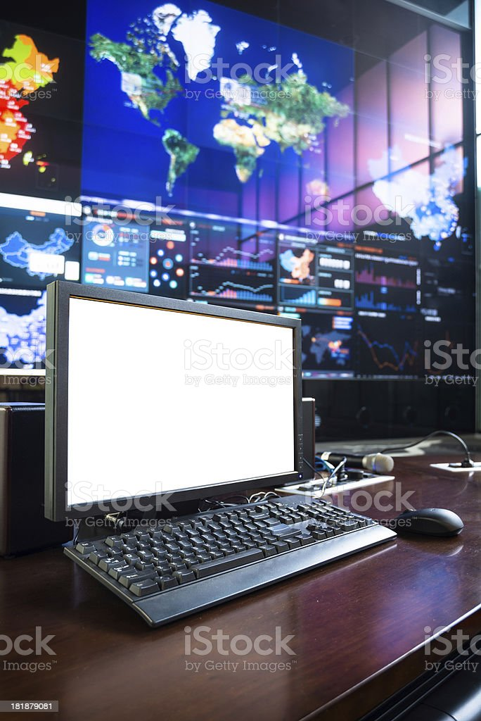 blank screen of computer at data center stock photo
