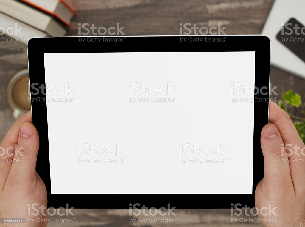 Blank screen tablet stock photo