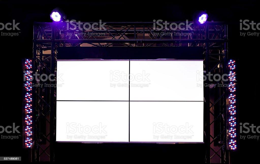 Blank screens with headlights on black stock photo