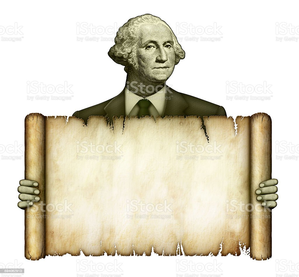 Blank Scroll Held by George Washington stock photo