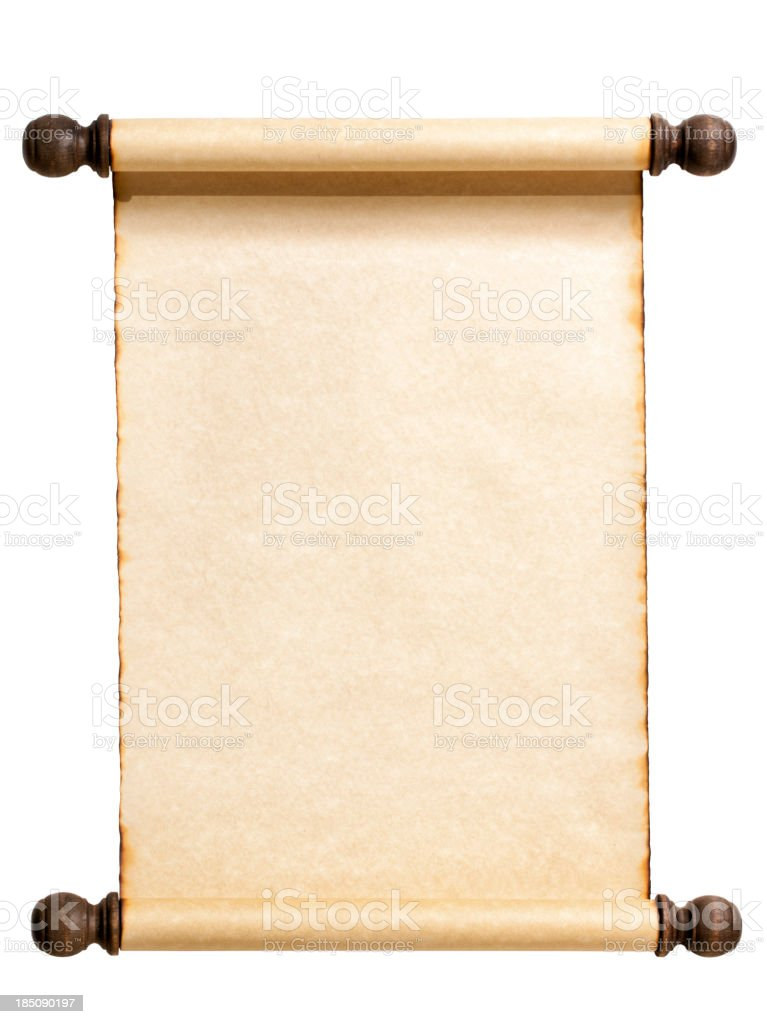 Blank Scroll Isolated on White. stock photo