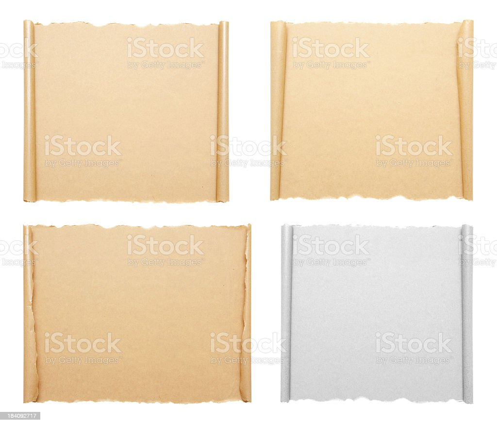 Blank Scroll paper background isolated on white stock photo