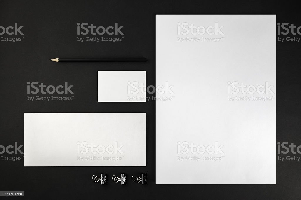Blank set of stationary with a pencil and clips stock photo