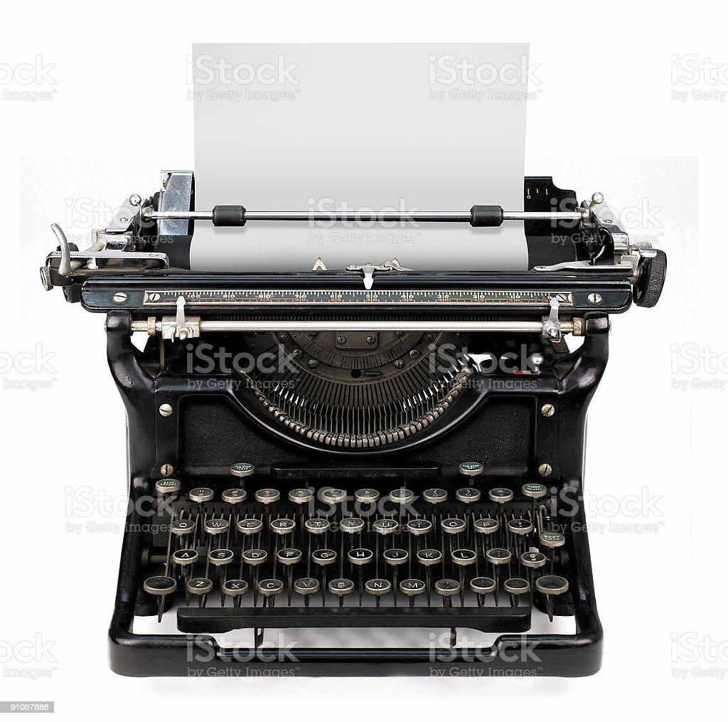 blank sheet in a typewriter stock photo
