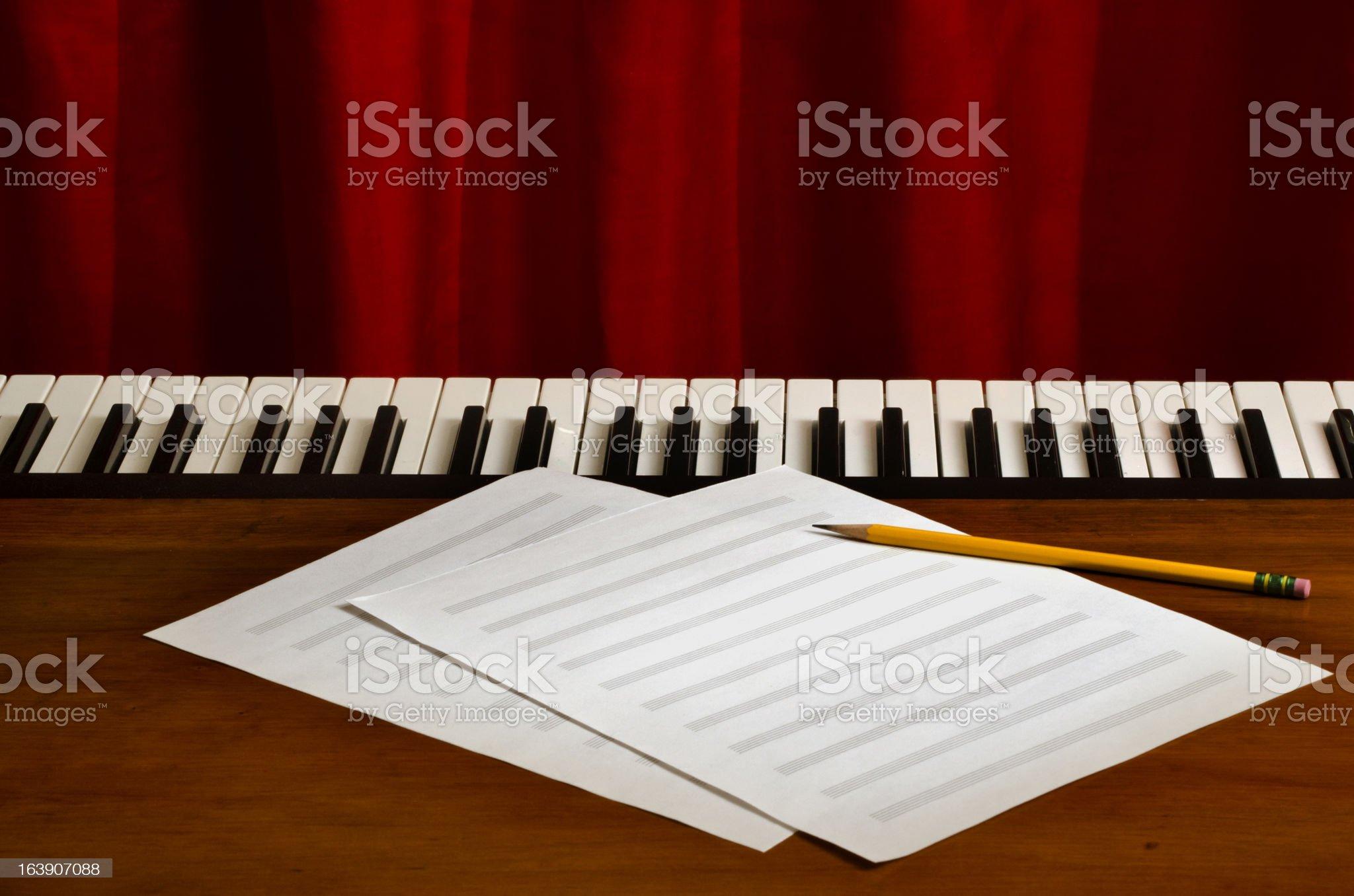 blank sheet music on piano royalty-free stock photo