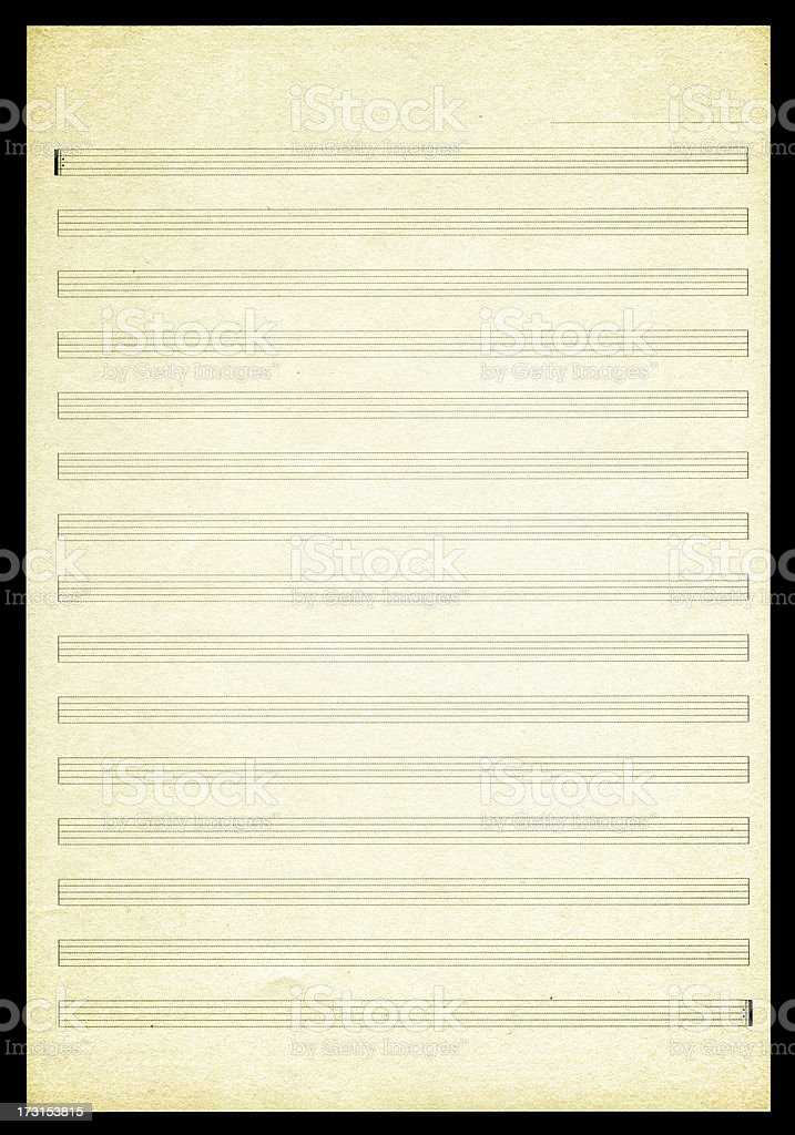Blank Sheet Music paper textured background stock photo