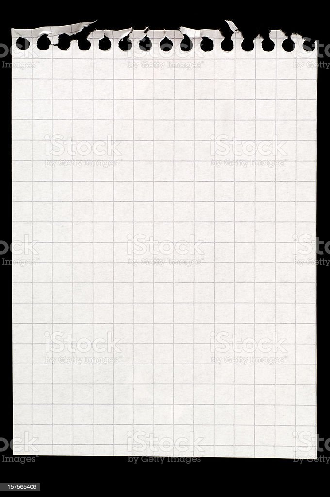 Blank sheet of maths paper on black royalty-free stock photo