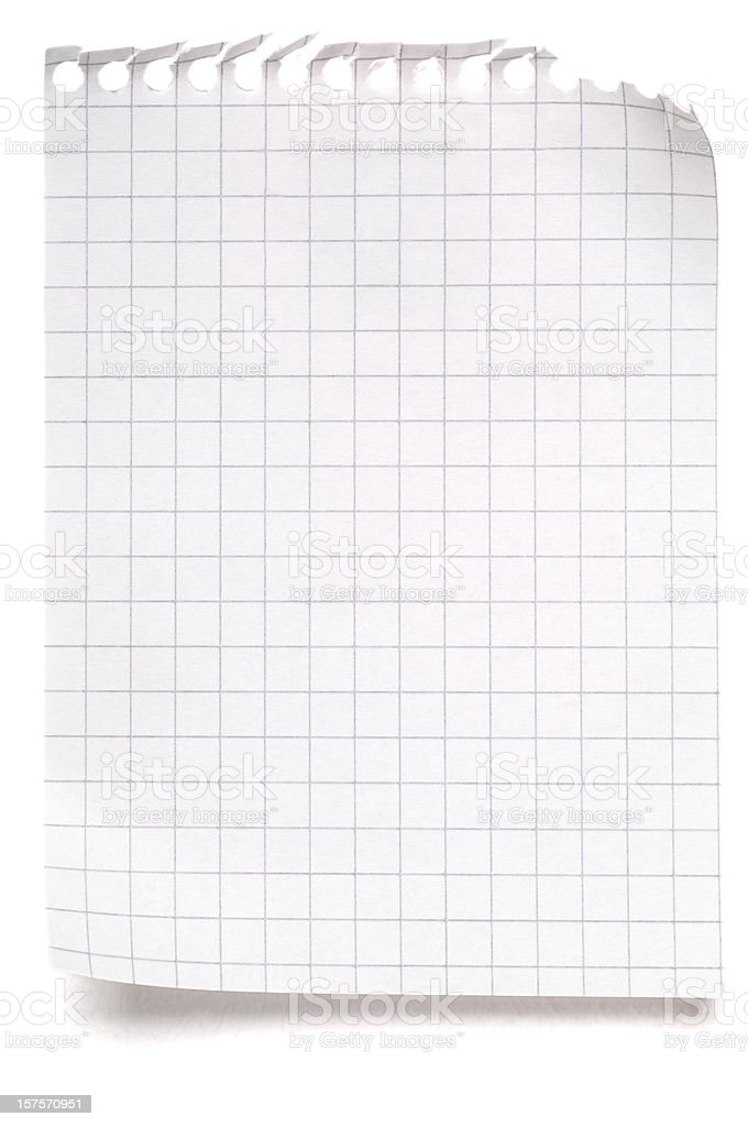 Blank sheet of maths paper on white royalty-free stock photo