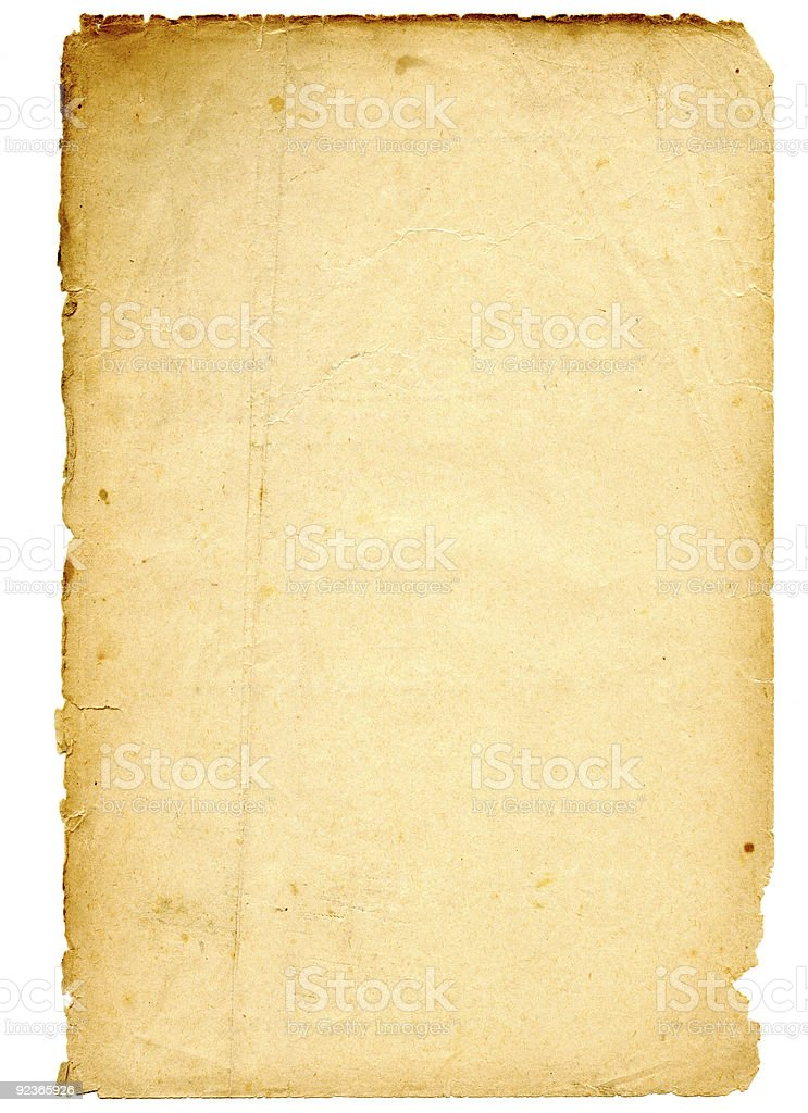 Blank sheet of old faded paper on a white background stock photo