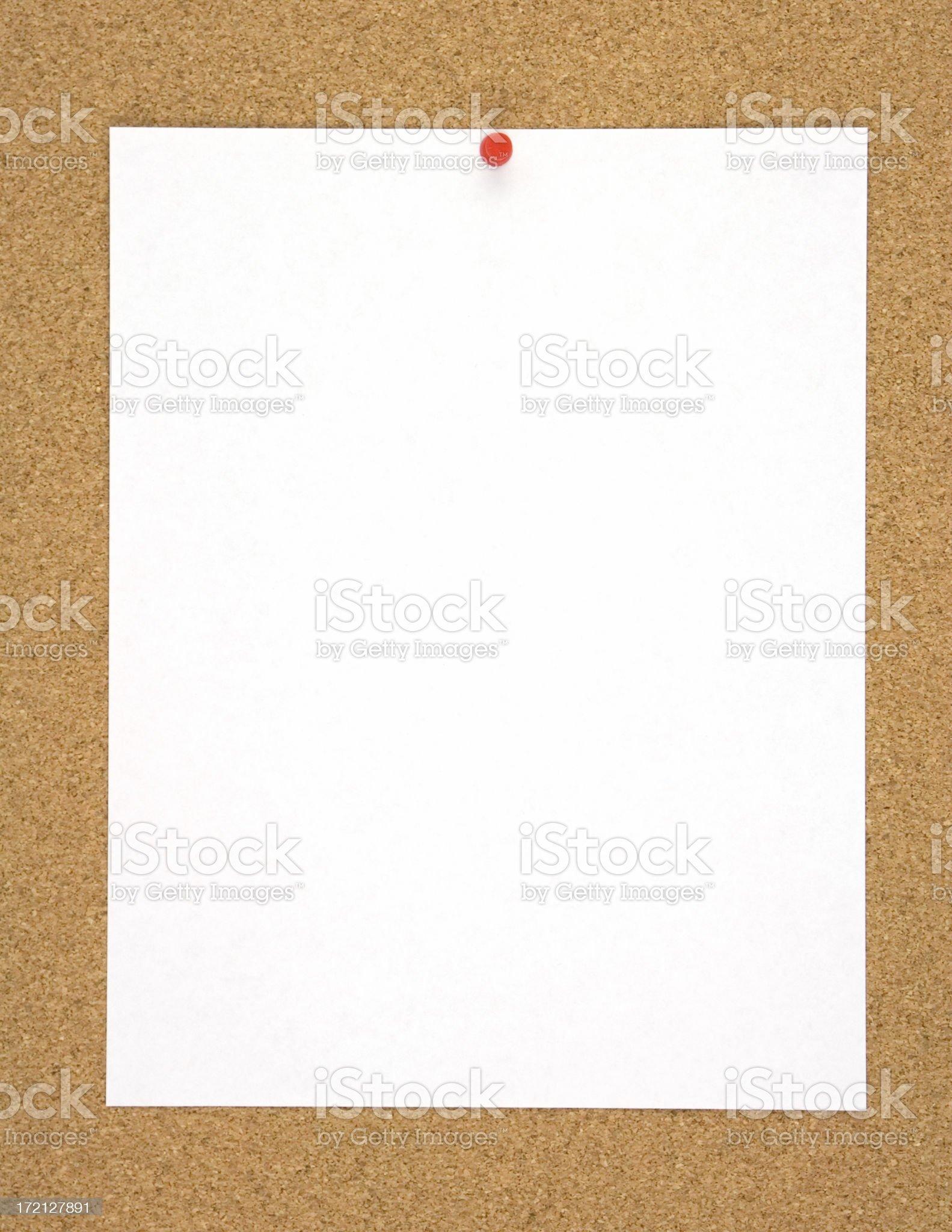 Blank Sheet of Paper on Corkboard royalty-free stock photo